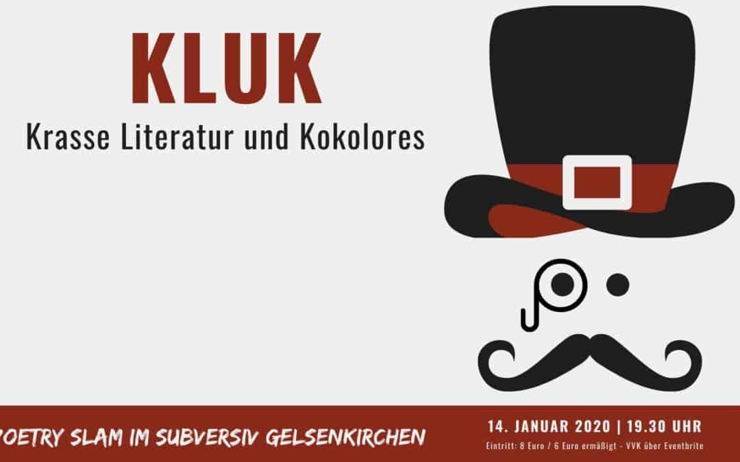 Titelbild KLUK Poetry Slam im Subversiv Gelsenkirchen - Januar 2020 - Kopf mit Zylinder und Schnurrbart
