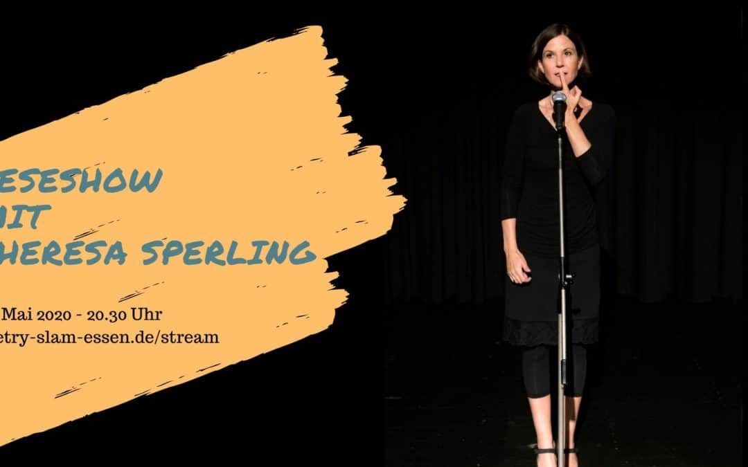 Theresa Sperling auf der Poetry-slam-bühne - titelbild für corona break