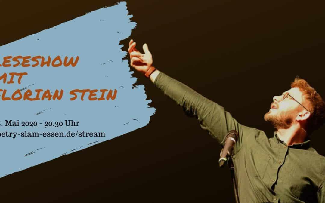 Poetry Slammer Florian Stein mit Titelbild für den Corona-Break Stream